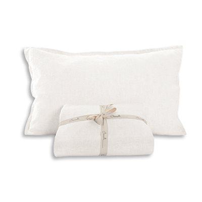 Cache oreiller en lin blanc Linen