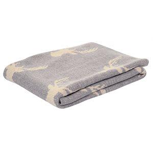 Deer grey knitted baby blanket