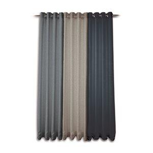 Modern tweed natural curtain panel