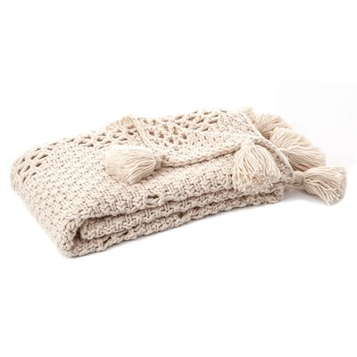 Jeté tricot naturel Houmous