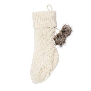 Bas de Noël crème en tricot Rudolph