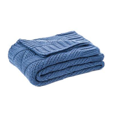 Jeté en tricot bleu Zig zag