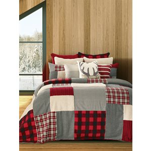 Buck red and grey cottage style quilt