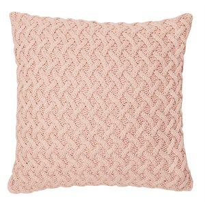 Oreiller européen en tricot rose Beatrice