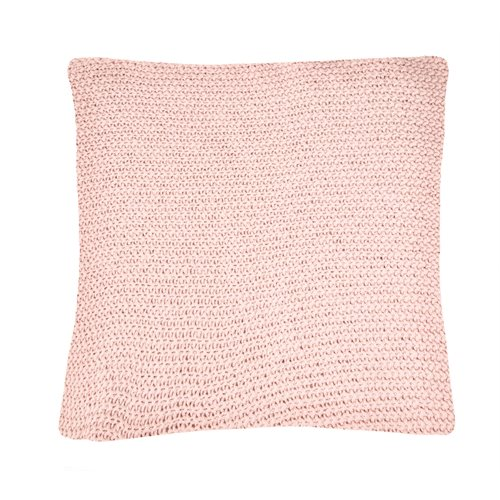 Bulky pink knitted european pillow