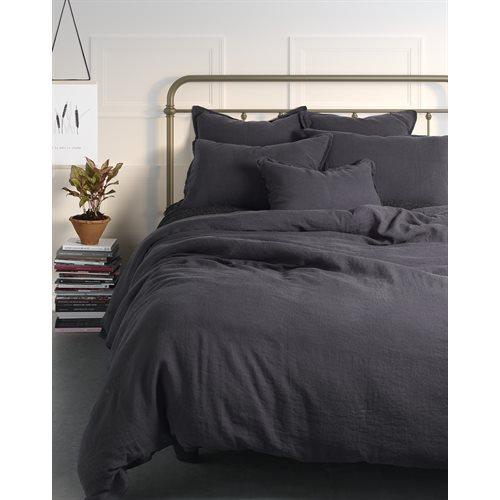 Linen black duvet cover