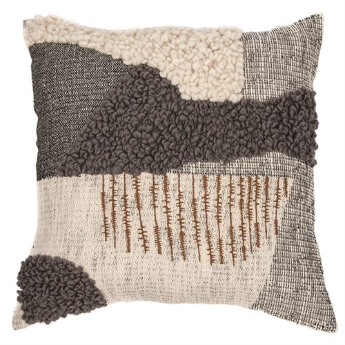Agnes cream and charcoal embroided cushion