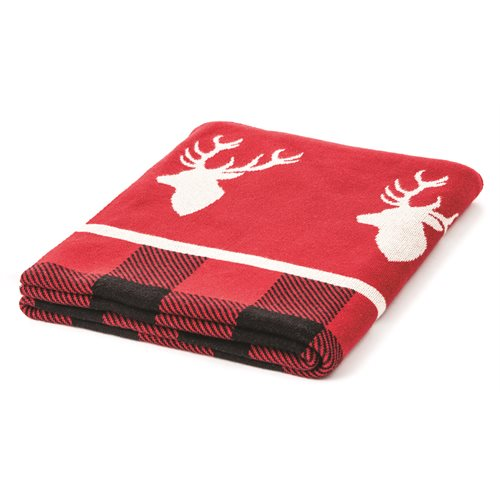 Alpes red and white plaid throw