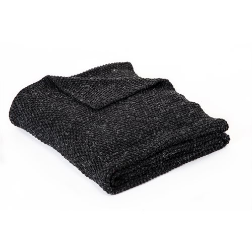Ardoise charcoal knitted throw