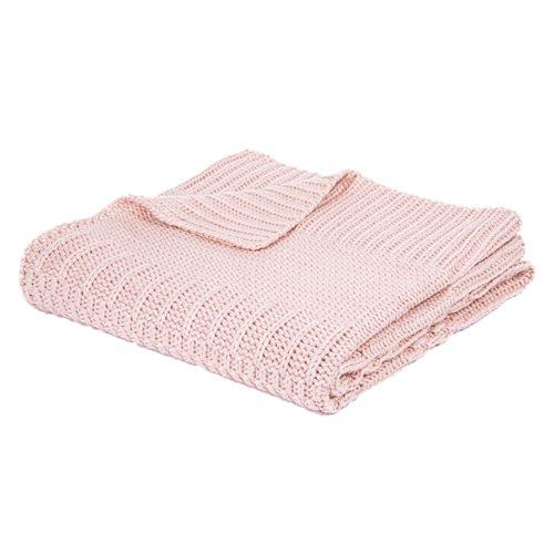 Jeté en tricot rose pâle Baba
