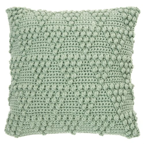 Bubble knitted sage cushion