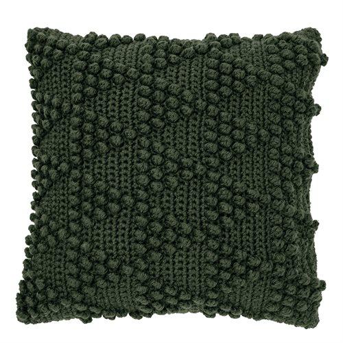 Bubble dark green knitted cushion