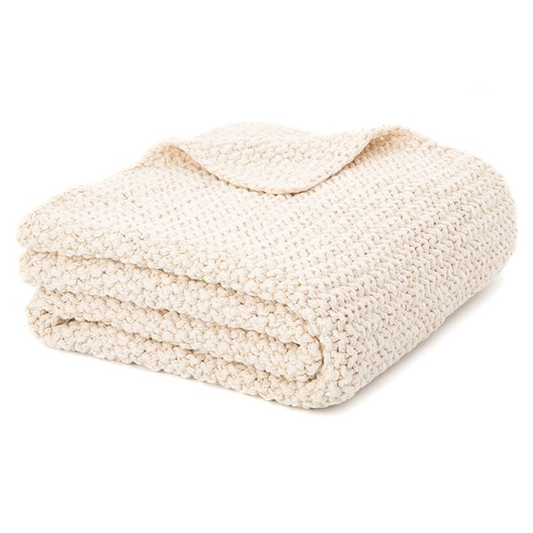 Bulky natural knitted throw