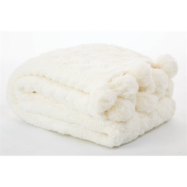 Chenille white throw