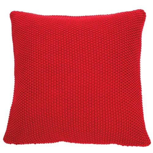 Coussin en tricot rouge Cherry