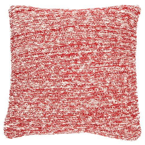 Claudette red knitted cushion