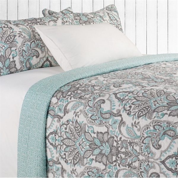 Diane aqua and grey quilt