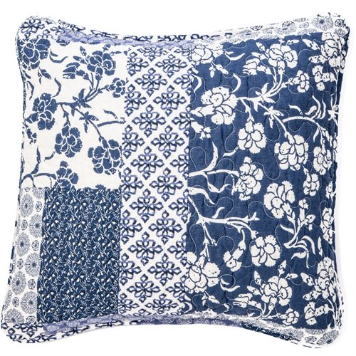 Edith blue and ivory cushion cover