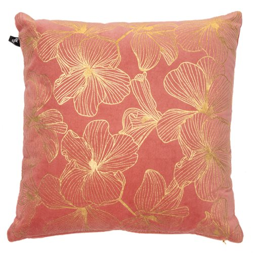 Coussin corail Hibiscus