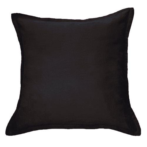 Cache oreiller européen en lin noir Linen