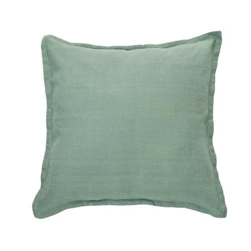 Cache oreiller européen en lin vert sauge Linen