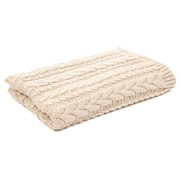 Foulard de lit en tricot crème Lolo