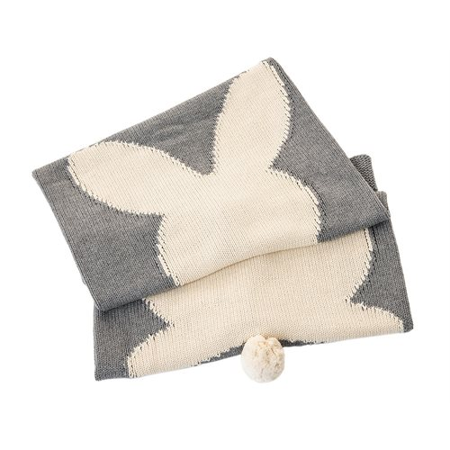 Pan Pam grey knitted baby blanket