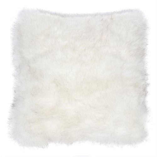 Cache oreiller européen en fausse fourrure blanche Polar