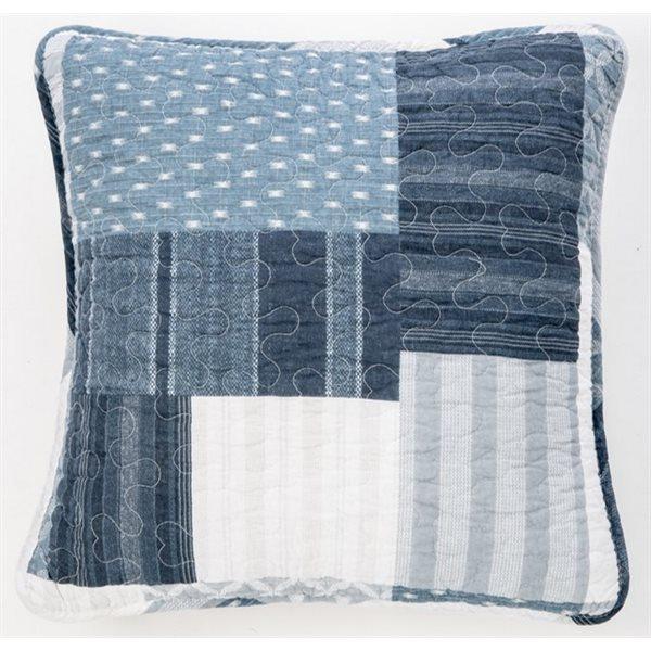 Cache coussin patchwork bleu Shania
