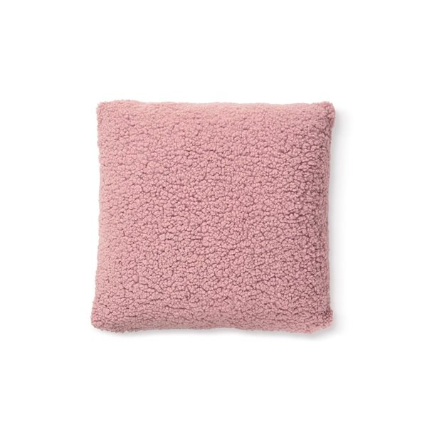 Coussin rose effet mouton Sherpa