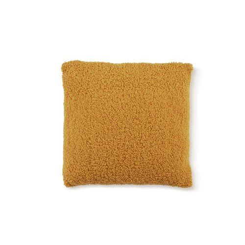 Coussin ocre effet mouton Sherpa