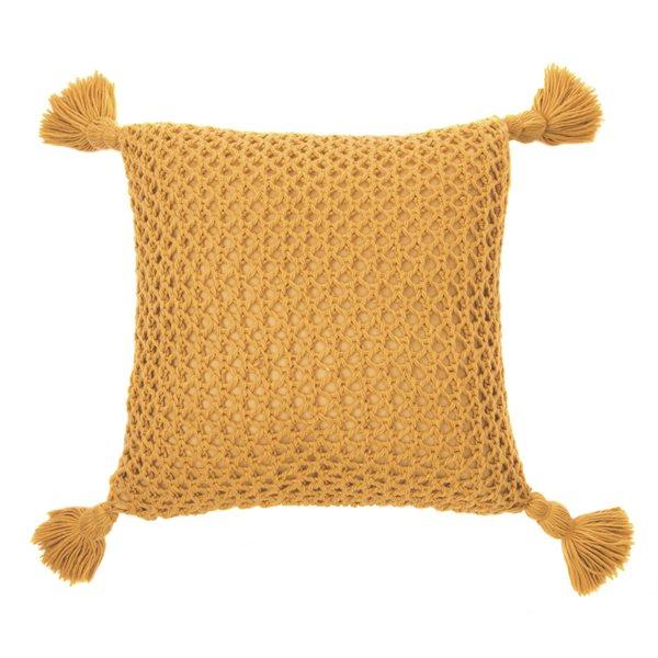 Shiva mustard knitted cushion