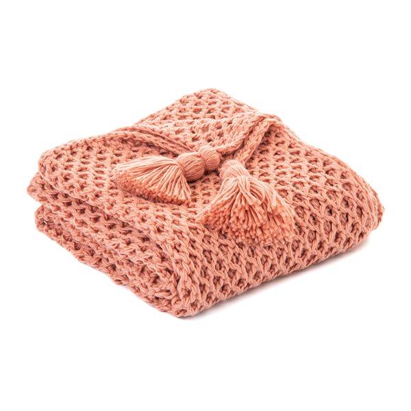 Jeté en tricot corail Shiva